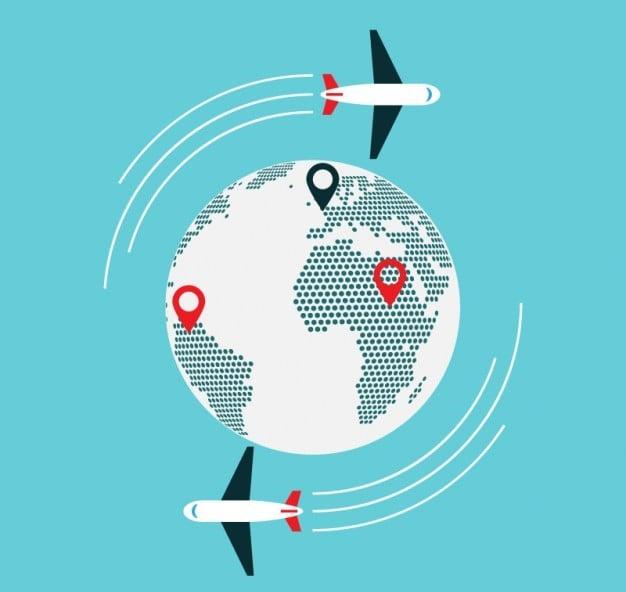 ilustración de mundo y aviones