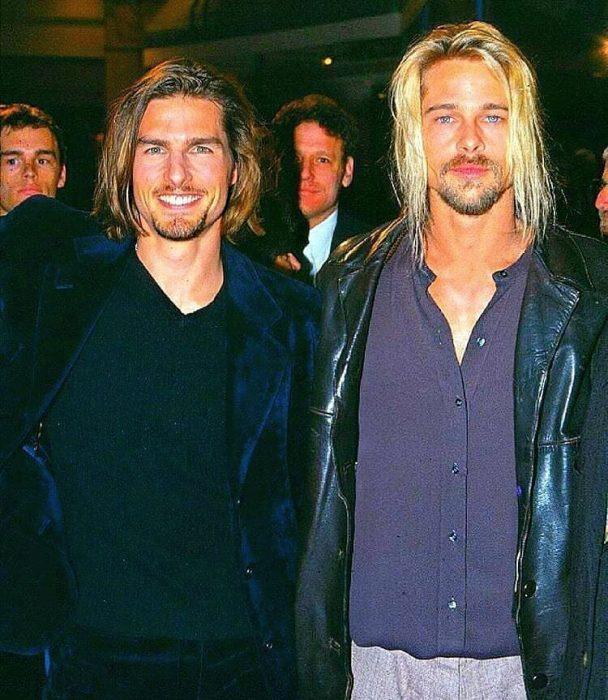 Tom Cruise y Brad Pitt en el estreno de la película Entrevista con el vampiro en 1994
