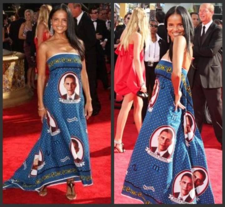 mujer con vestido azul fotos de barack obama