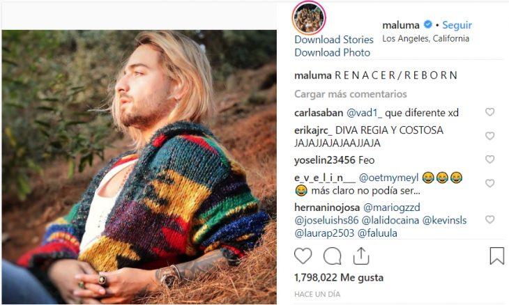 Publicación de foto de maluma en su cuenta de Instagram