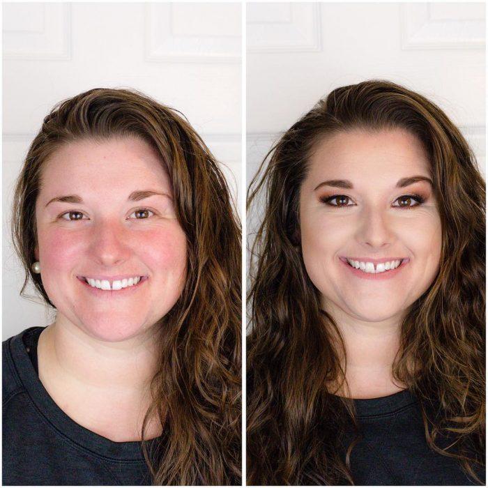 Chicas antes y después de cambiar su rostro con maquillaje