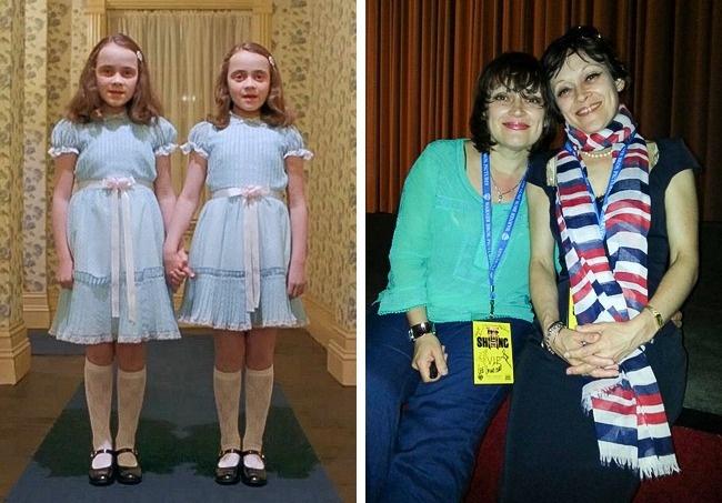 niñas con vestido azul