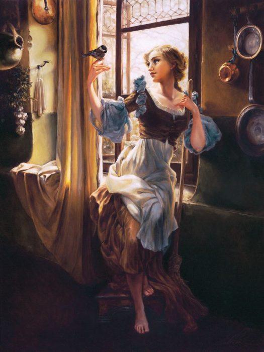 Pintura al óleo de La cenicienta