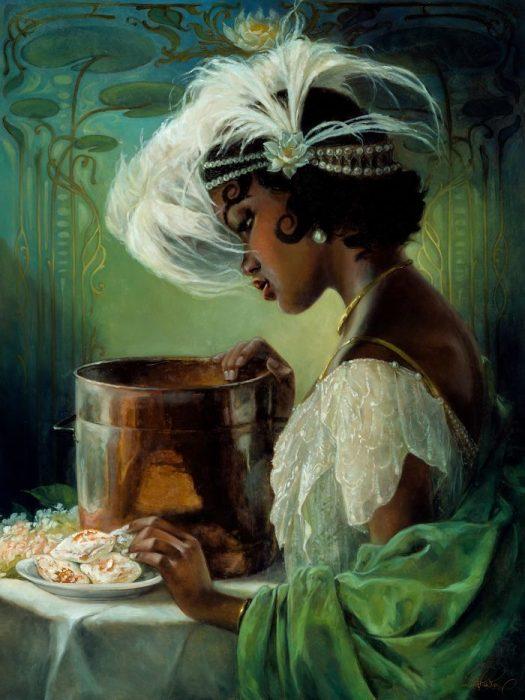 Pintura al óleo de Tiana de la princesa y el sapo