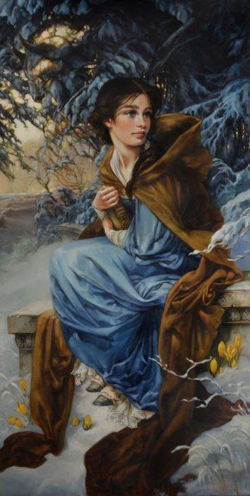 Pintura al óleo de Bella de la bella y la bestia