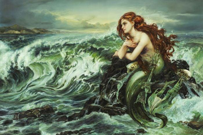 Pintura al óleo de la Sirenita