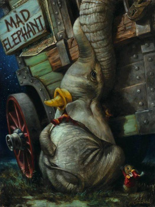 Pintura al óleo de Dumbo