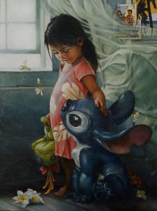 Pintura al óleo de Lilo y Sitch