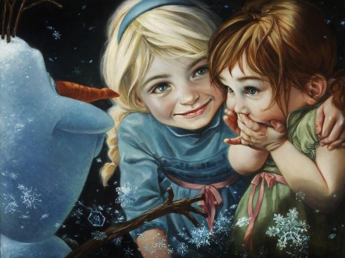 Pintura al óleo de olaf, elza y Anna