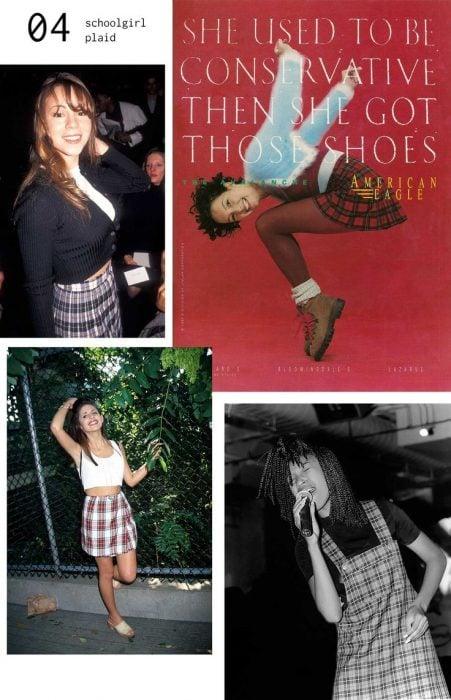mujeres con falda de cuadros colegiales