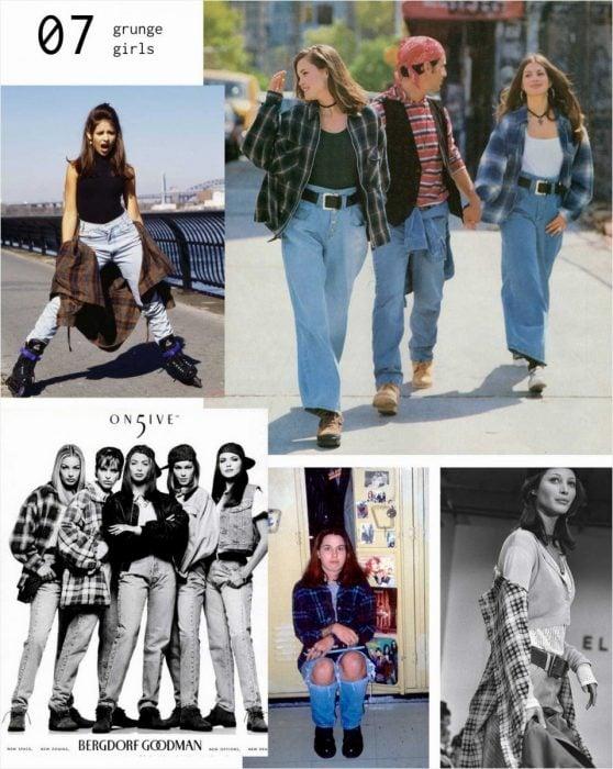 mujeres con pantalones de mezclilla y camisa de