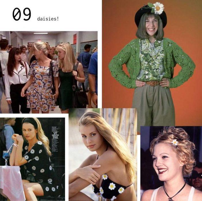 mujeres con y ropa de flores margaritas
