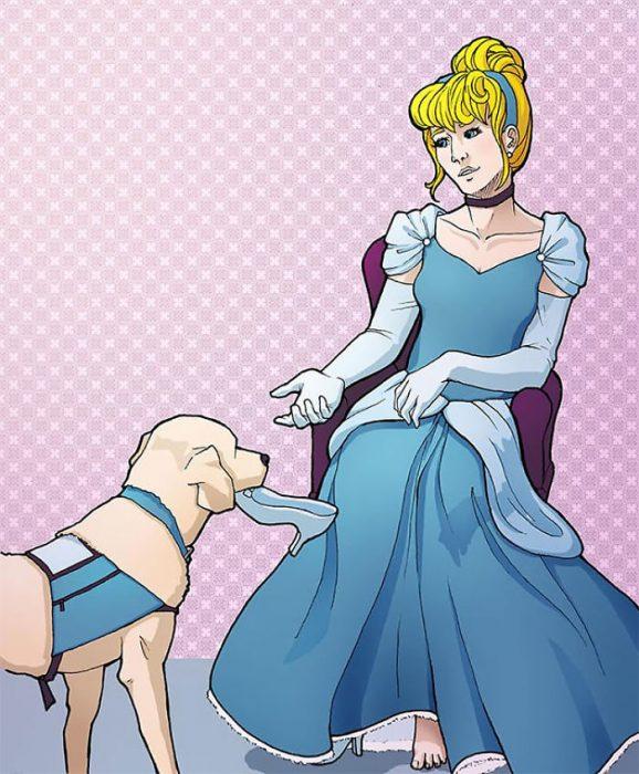 Princesas de Disney ilustradas con ayuda de perros guía