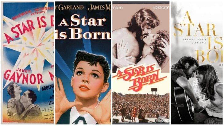cuatro carteles de películas A star is born