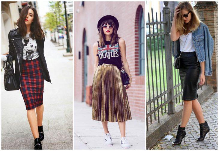 chicas usando falda