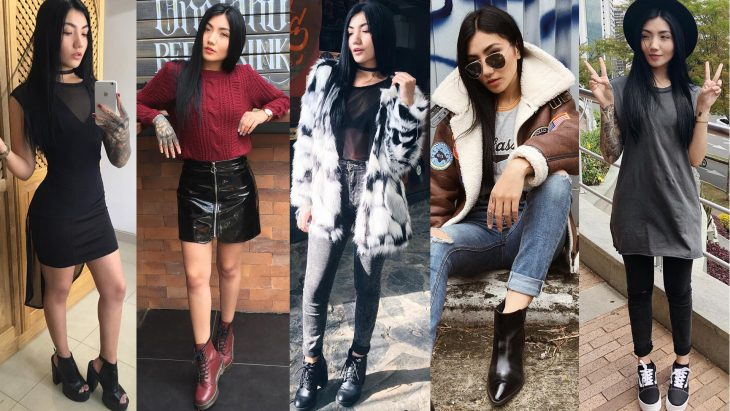 Chica con diferentes outfits