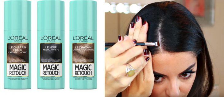 mujer paquillando sus raíces del cabello con productos