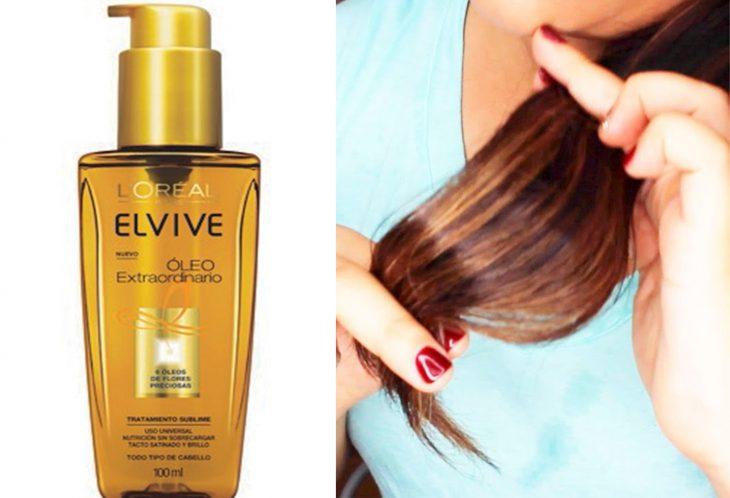 mujer con manos tocando sus puntas y aceite para el cabello