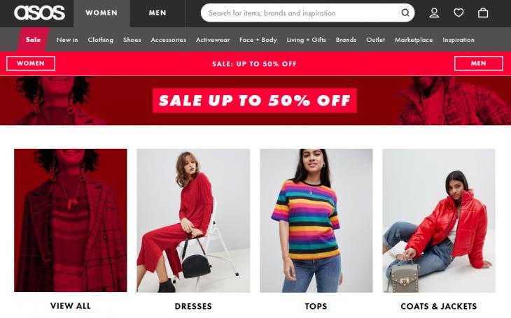 captura de pantalla de mujeres modelando ropa asos