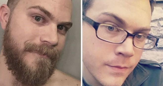 hombre rubio con barba a la mitad y sin barba