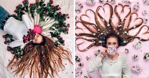 Crea obras de arte con su larga cabellera y son increíbles