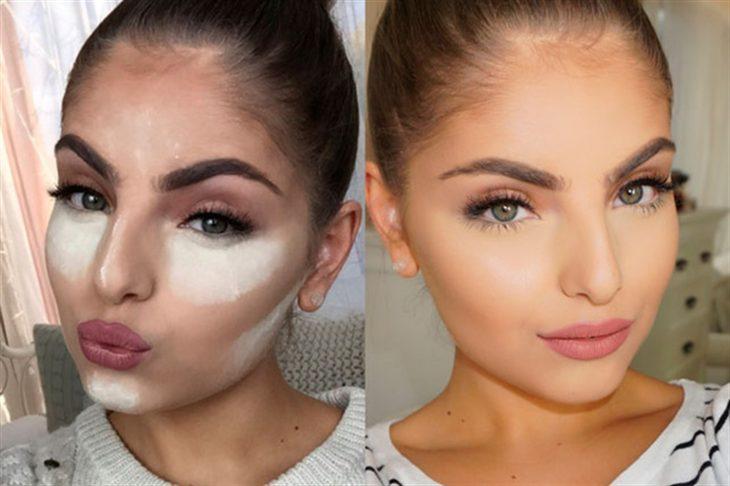 chica usando contour en el rostro