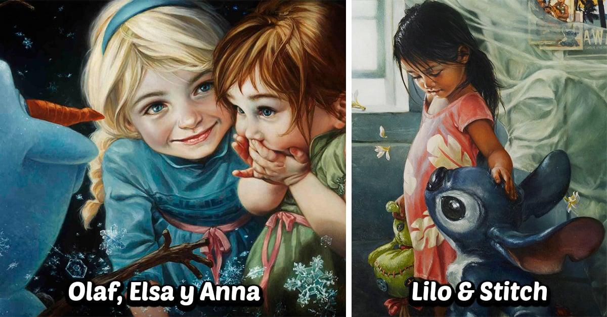 Esta artista crea pinturas al óleo de los personajes de Disney