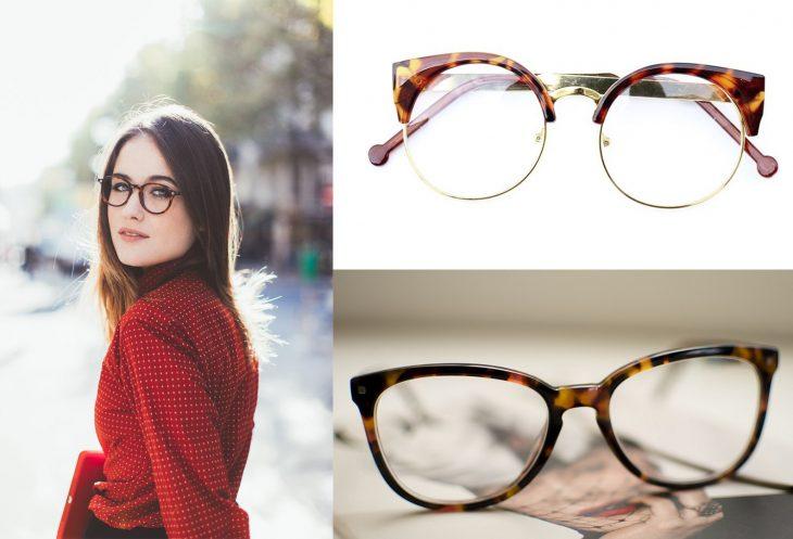 mujer con lentes de armazón carey