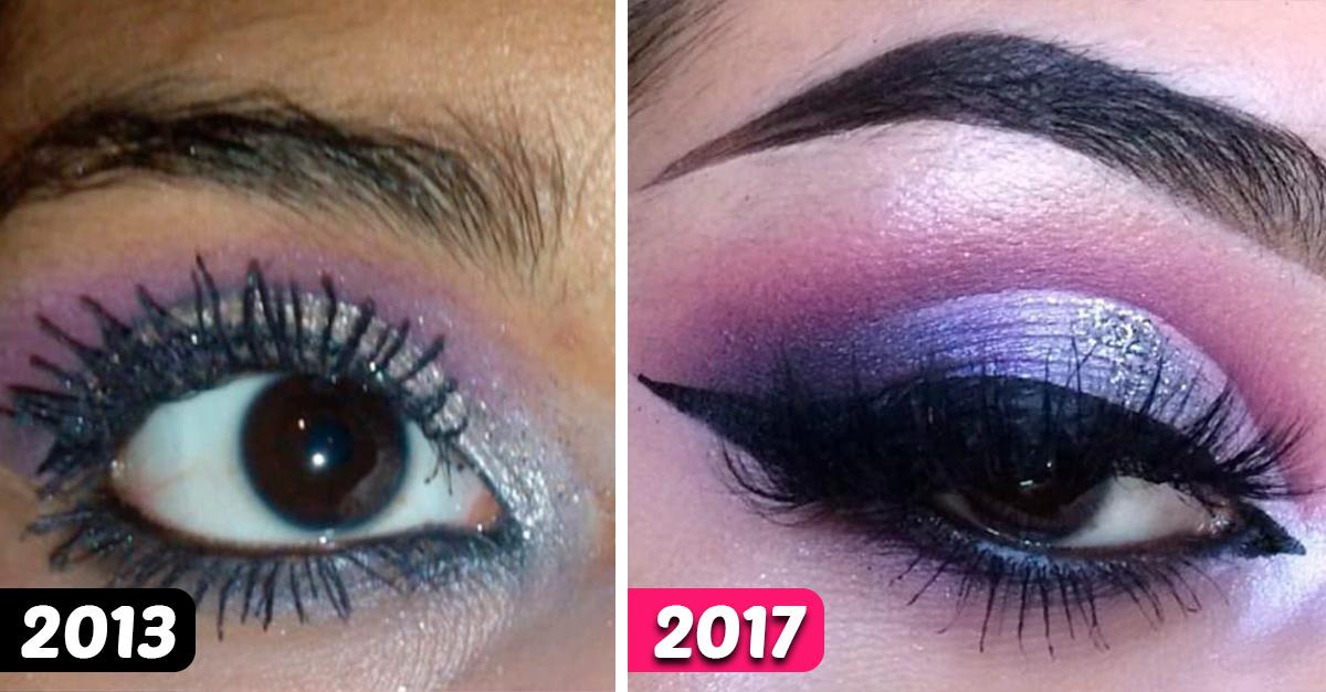 12 Chicas comparten fotos con su evolución a la hora de maquillarse