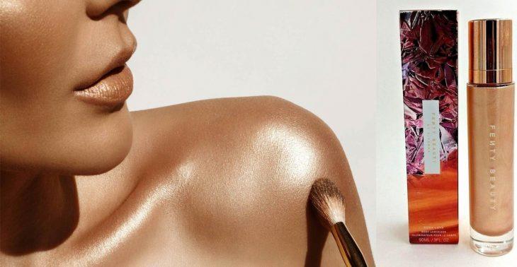 mujer y hombros dorados con iluminador dorado