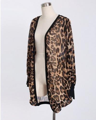 kimono con estampado de leopardo