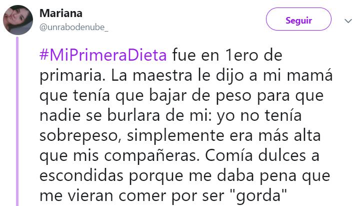 Comentarios en Twitter de mujeres que fueron presionadas para hacer una dieta cuando eran niñas