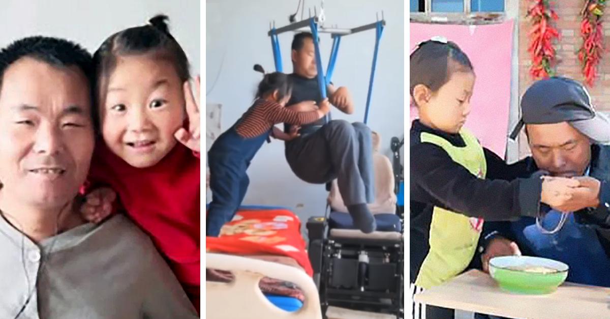 Niña de 6 años cuida de su padre parapléjico; su madre los abandonó