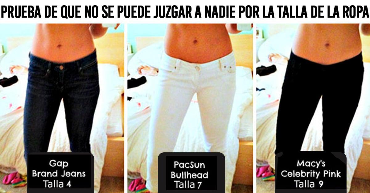 Publicó fotos de sí misma usando pantalones de distinta talla para mostrar que la industria de la moda nos engaña