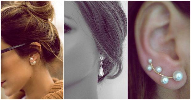 mujer con aretes de perlas