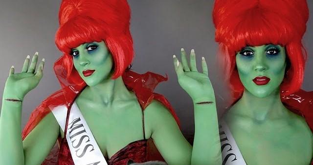 mujer con maquillaje verde y peluca roja
