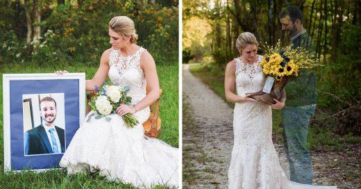 10 meses antes de su boda su prometido murió, ella lo honró en la sesión de fotos