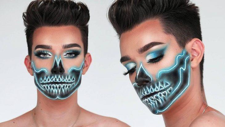 hombre con maquillaje de calavera neon