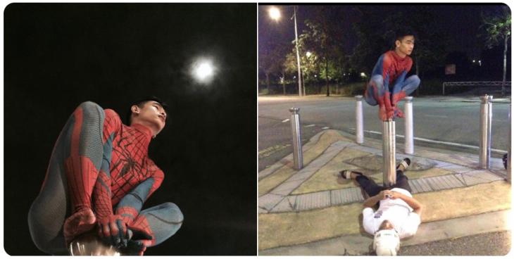 hombre con traje de spiderman
