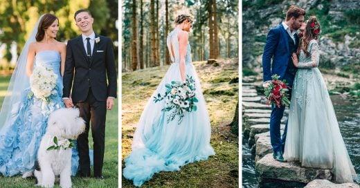 18 Vestidos de novia color azul; te harán olvidarte del tradicional blanco