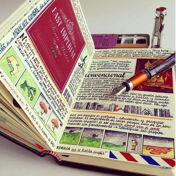 cuaderno con notas y dibujos