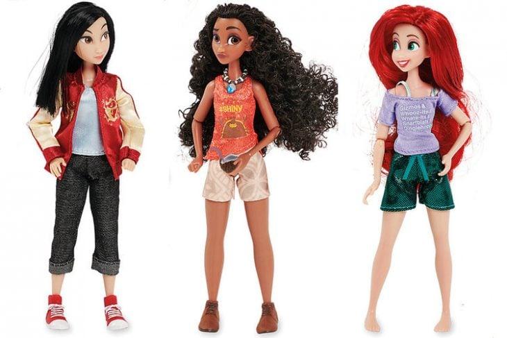 muñecas princesas mulán Moana y Ariel