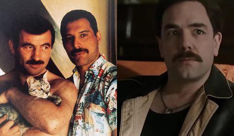 hombre con bigote y hombre con camisa de flores