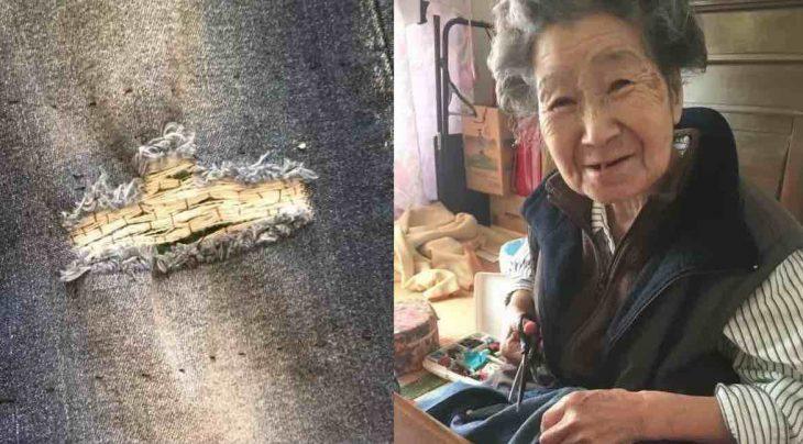 Abuela cose los jeans rotos de su nieta