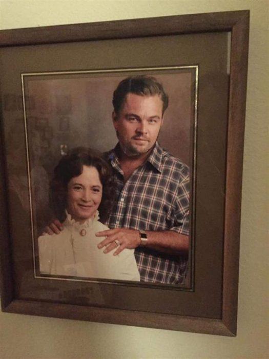 Foto de abuelos con cara de Leonardo DiCaprio encima de la cara del abuelo