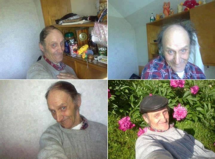 Abuelo posando para sus fotoss de facebook