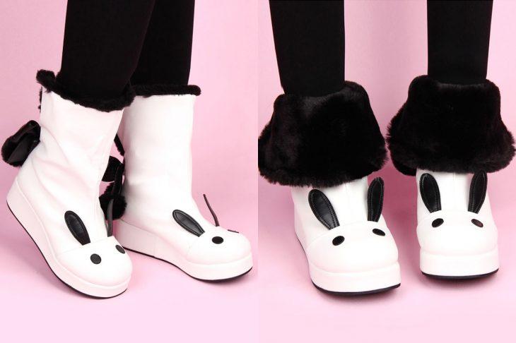 Botas para invierno con forma de conejo blanco y negro