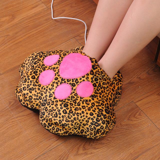 Calentador de pies en forma de pata de animal con estampado de animal print