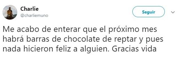 comentario en Twitter sobre las barras de chocolate reptar