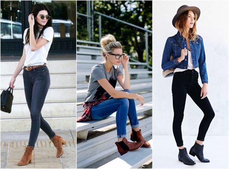 chicas usando botines cortos